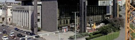 Logo a nápis - označení nové budovy Národního Muzea, Praha